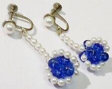 Boucle d'oreille à vis couleur argent perles fantaisies blanches bleues *4991
