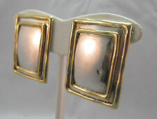 VINTAGE C.D. STERLING SILVER GOLD TRIMMED CLIP ON EARRINGS  ****