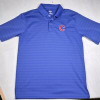 Majestic Chicago Cubs Shirt Adult Large Blue Polo Embroidered Baseball MLB Mens