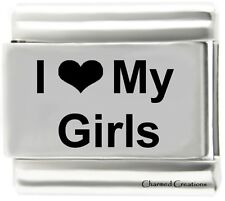 I Love My Girls 9mm Italian Charm Stainless Steel Laser Family Daughters Kids