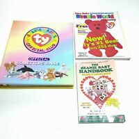 Lot of 184 TY Beanie Babies Cards 1 Binder 1998 Hand Book 1999 Beanie World Mag
