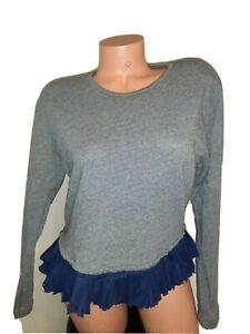 J Crew Size S Gray Sweatshirt Pleated Hem Detail Blue Womens