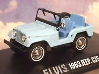 "GREENLIGHT 1/43 1963 JEEP CJ5 SIERRA BLUE FROM ELVIS PRESLEY MOVIE ""TICKLE ME"""