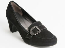 New Donna Serena Black Suede Leather Made in Italy Shoes Size 40 US 10
