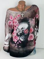 50 52 54 Oversize Tunika Shirt Batik Skull Totenkopf Glitzer Nieten Rosen XXXL