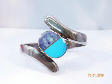 VINTAGETAXCO STERLING SILVER TURQOUISE & LAPIS BYPASS HINGED BRACELET