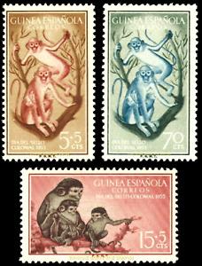 EBS Spanish Guinea 1955 - Stamp Day Monkeys - Día del Sello - Edi. 355-357 MNH**
