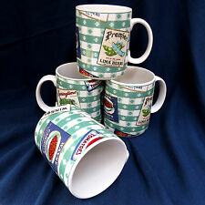 Set of 4 Fitz and Floyd Omnibus Americana Country Cupboard Coffee Mugs Cups F&F