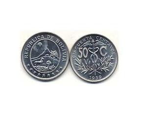 BOLIVIA, 1939: 50 PIECES UNCIRC, 50 CENTAVO KM #182