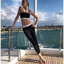 Sexy Black White Yoga Crop Top And Leggings Exercise Gym Medium - LARGE L 10 12