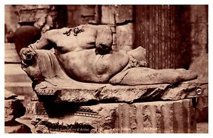 France, Arles, musée, fragment statue de Silène Vintage albumen print Tirage a