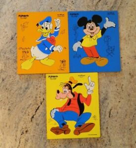 3 Vintage Playskool Disney Wooden Puzzles - Mickey Mouse, Donald Duck & Goofy