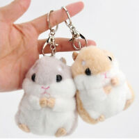 Cute Mini Hamster KeyChains Fluffy Toy Doll Car Cell Phone Key Ring Penden Ullm