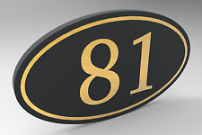 House Number Sign With Oval Frame and Painted Gold Numbers Personalized.