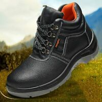 Men Work Boots Steel Toe Safety Shoes Anti Puncture Sole Sneakers Lace Up Shoes