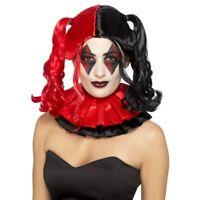Twisted Harlequin Wig Red & Black Jester Halloween Fancy Dress Wig