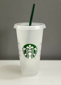 Starbucks 24oz / 710ml Reusable Frosted Cold Cup Tumbler - W/ Lid & Straw