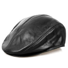 Men Women Faux Leather Beret Hat Flat Cap Driving Golf Biker Beret Round Brim