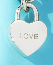 "Tiffany & Co NOTES ""LOVE"" Heart Padlock Sterling Silver Charm ONLY"