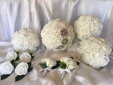 White Foam Rose Wedding Bridal Bouquet 10pce set With Brooches & Rhinestones