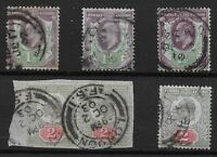 KEVII-1&1/2d. & 2d.  De La Rue Printings.  Each FU With Year In Cancel. Ref.0896