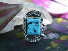 Vibrant Navajo Sterling Silver Ring Free Form Sleeping Beauty Turquoise Size 8
