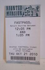 DISNEY DISNEYLAND PARK FASTPASS FAST PASS HAUNTED MANSION RIDE ATTRACTION 2010