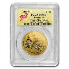 2011 1 oz Gold Lunar Year of the Rabbit MS-69 PCGS (Series II) - SKU#60801