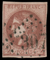 France #39 Used CV$225.00 1870 2C Red On Yellowish Signed Calves