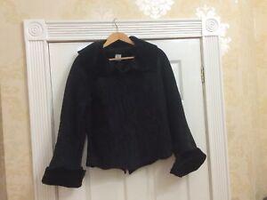 Noa Noa Black Faux Shearling Jacket M Uk 12 Vgc Winter Fleecy (w) Ladies