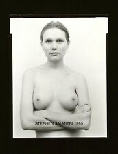 "NUDE FEMALE PHOTO 4X5"" VINTAGE B/W CONTACT DKRM PRINT SIGNED"