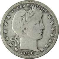 1916 25c Barber Silver Quarter US Coin Average Circulated