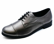 Ladies Real Leather Pewter Flat Lace-Up Metallic Brogue Loafer Shoes 3-8 Seconds