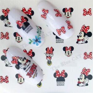 Nail Art Stickers Water Decals Transfer , Disney Minnie Mouse & Ribbon Minnie