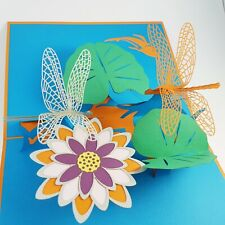 DRAGONFLY pop-up greeting card (cool,,handmade,beautiful,unique gift/decor/art)