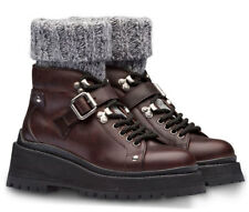 MIU MIU -Prada Combat Biker Boots Motorcycle Sock Lace Up Leather Booties 41