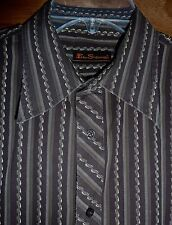 BEN SHERMAN - BROWN STRIPE LONG-SLEEVE COTTON SHIRT - MENS XL/34