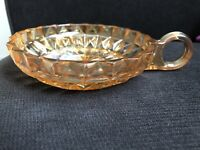 Vintage Orange Carnival Glass Dish Candy With Handle