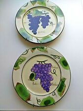 """Style-Eyes By Baum Bros Wine Grapes Decorator Plates 8 1/4"""" - Set Of 3"""