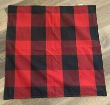 "Pottery Barn Buffalo Check plaid pillow cover NWOT 24"" CHRISTMAS red black"
