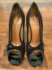 Celine Plum Purple Leather Peep Toe Pump w/ Bow @ Toe, Size 9 (US) 39 (EU)