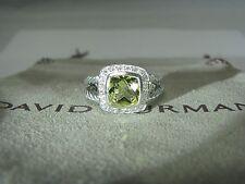 DAVID YURMAN AUTHENTIC SILVER ALBION 7MM LEMON CITRINE PAVE DIAMOND RING SIZE 6