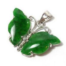 Pretty Emerald Green Jade 18KWGP Lovely Butterfly Pendant & Necklace
