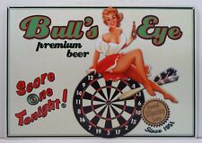 Bull's Eye Premium Beer Pin Up Girl Metal Sign