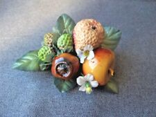Vintage Carmen Miranda plastic fruits & fabric leaves millinery applique #3