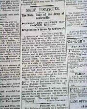 Rare Davenport Iowa Civil War First Battle of Bull Run Manassas 1861 Newspaper