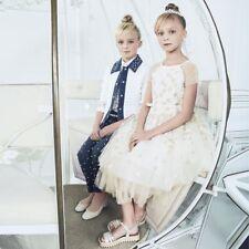 MONNALISA CHIC GIRLS GOLD STAR EMBROIDERED DRESS 4 YEARS