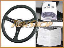 ITALY NARDI CLASSIC 330MM STEERING WHEEL BLACK LEATHER BLK SPOKE WHITE STICHING