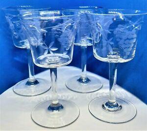 4 X Vintage 1930s  stem Etched Wine Glasses