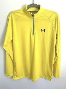 UnderArmour Heat Gear Womens 1/4 Zip Yellow Long Sleeve Shirt Small Loose Fit